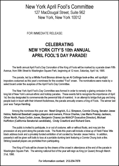 10th Annual April Fools' Day Parade press release, 1995