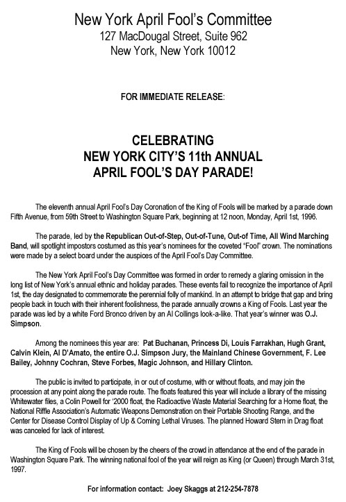 11th Annual April Fools' Day Parade press release, 1996
