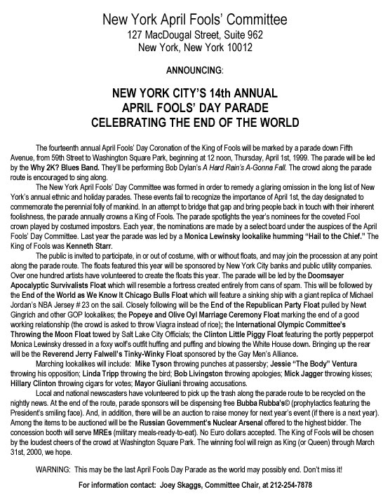 14th Annual April Fools' Day Parade press release, 1999