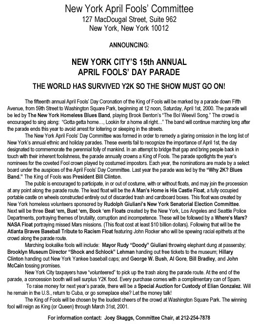 15th Annual April Fools' Day Parade press release, 2000