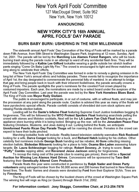 16th Annual April Fools' Day Parade press release, 2001