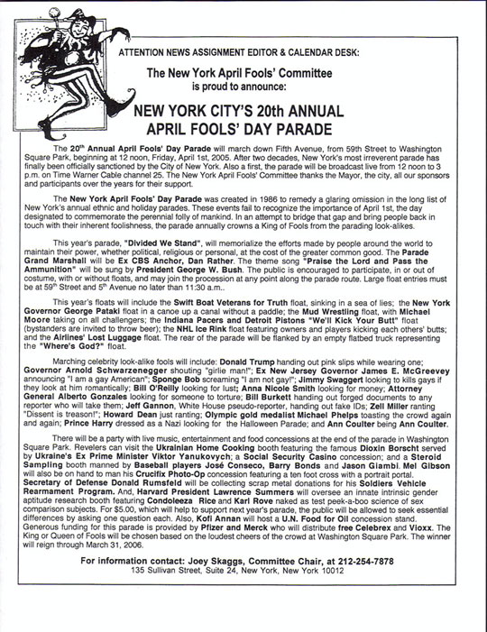 20th Annual April Fools' Day Parade press release, 2005