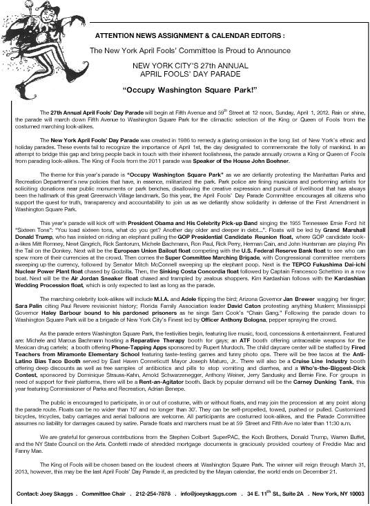 27th Annual April Fools' Day Parade press release, 2012