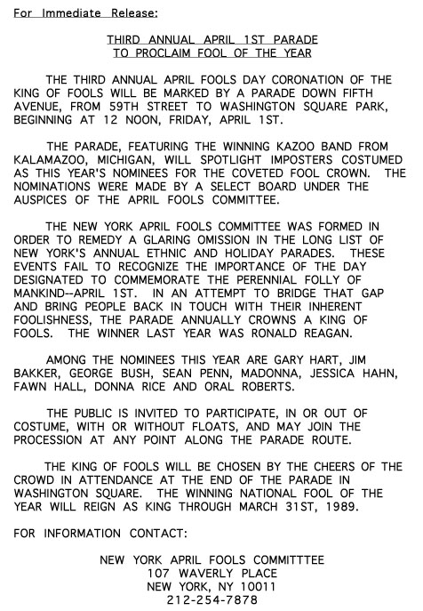 3rd Annual April Fools' Day Parade press release, 1988