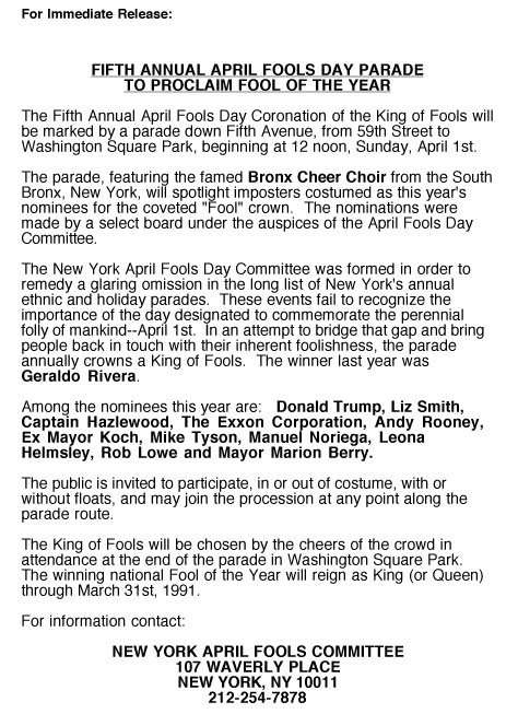 5th Annual April Fools' Day Parade press release, 1990