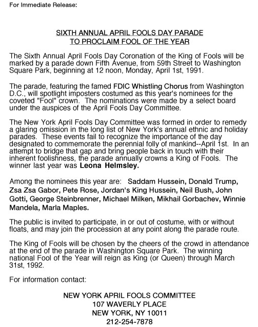 6th Annual April Fools' Day Parade press release, 1991