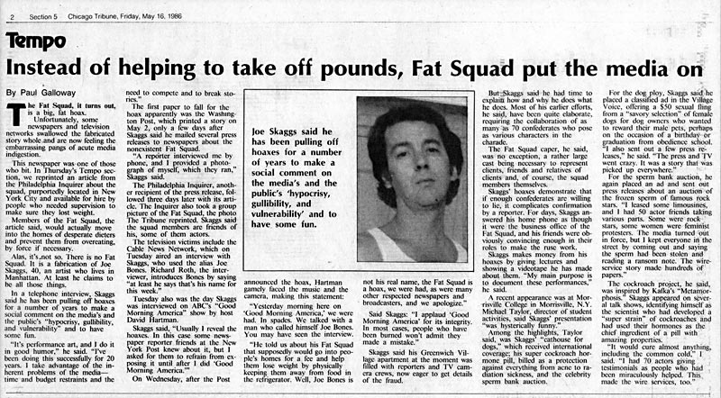 Instead of helping to take off pounds, Fat Squad put the media on, by Paul Galloway, Chicago Tribune, May 16, 1986