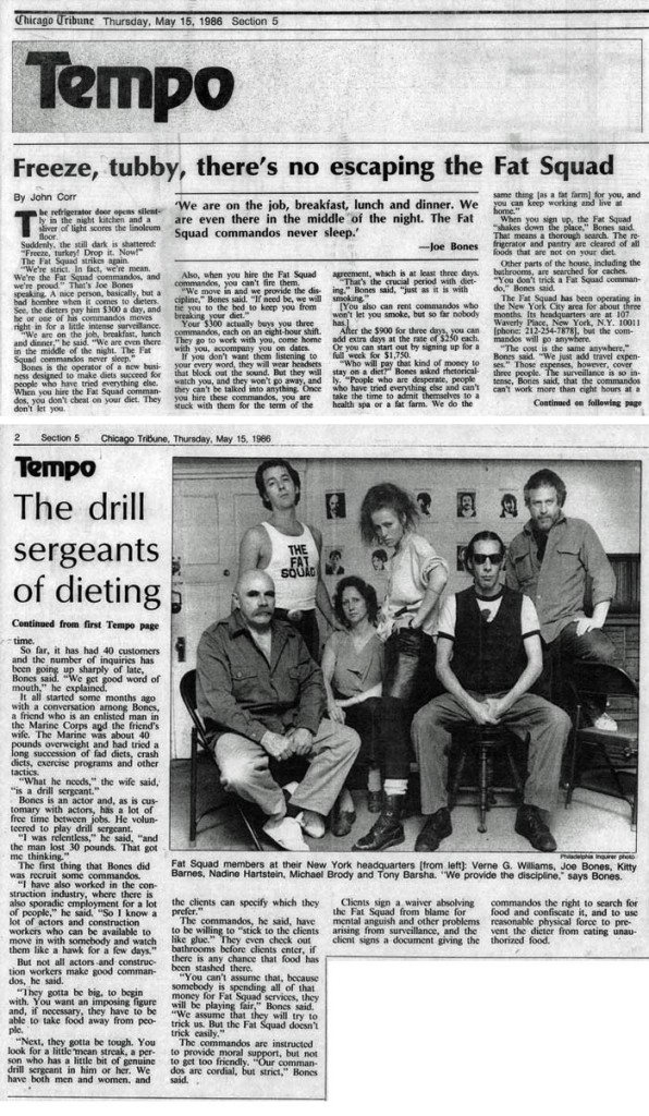 Freeze tubby, there's no escaping the Fat Squad, by John Corr, Chicago Tribune, May 15, 1986