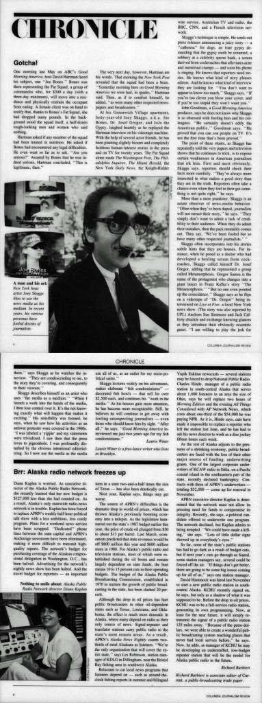 Chronicle: Gotcha!, Columbia Journalism Review, September, 1986