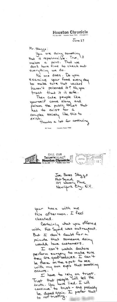 Houston Chronicle journalist letter to Joey Skaggs, June 27, 1986