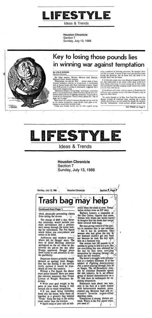 Key to loosing those pounds lies in winning war against temptation, by Leslie Sowers, Houston Chronicle, July 13, 1986