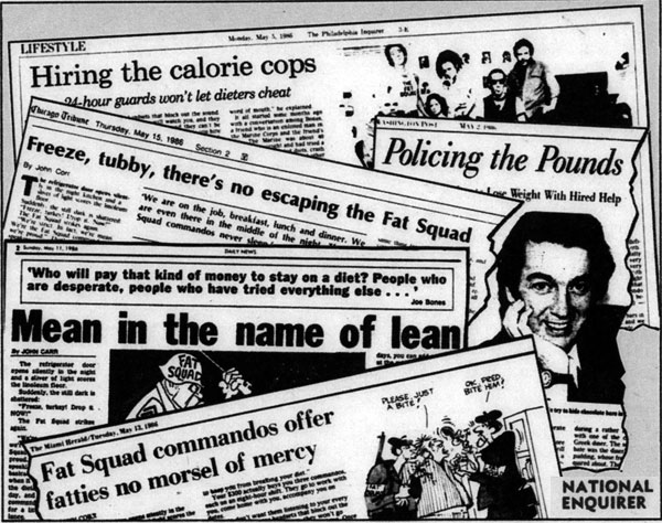 Fat Squad media coverage illustration from The National Enquirer, June 10 1986