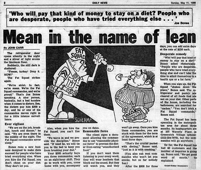 Mean in the name of lean, by John Corr, New York Daily News, May 11, 1986