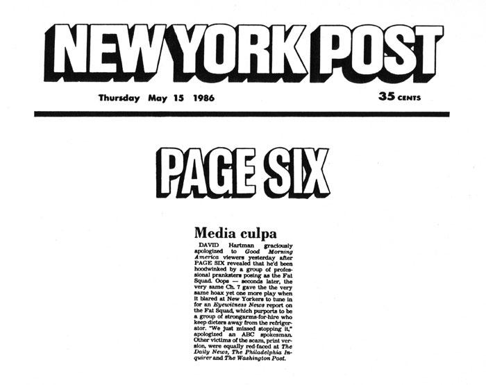 Page Six: Media culpa, New York Post, May 15, 1986