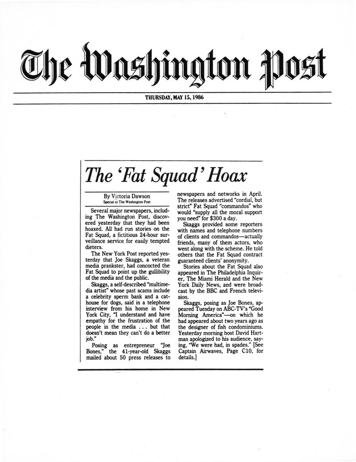 The 'Fat Squad' Hoax, by Victoria Dawson, The Washington Post, May 15, 1986