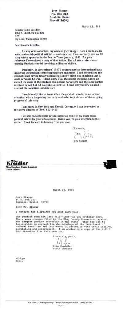 Joey Skaggs' correspondence with Senator Kreidler, March 13-20, 1989