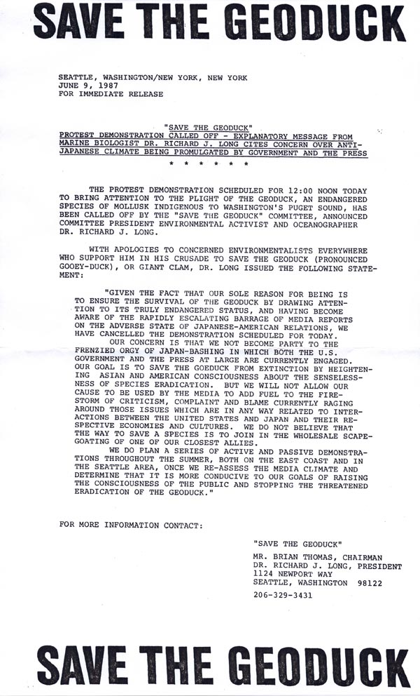 """""""Save the Geoduck"""" press release announcing cancellation of the New York protest , June 9, 1987"""