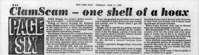 ClamScam - one shell of a hoax, New York Post, Page Six, June 11, 1987