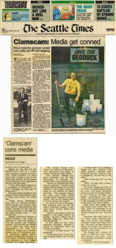 Clamscam: Media get conned, Seattle Times, June 11, 1987