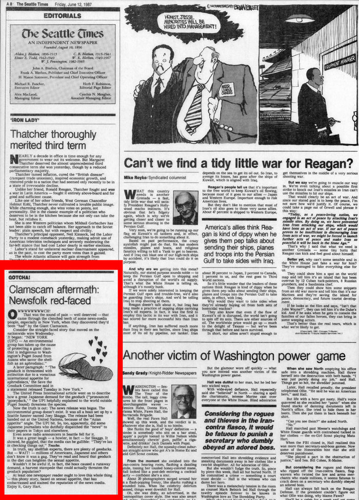 Clamscam aftermath: Newsfolk red-faced, Seattle Times Editorial, June 12, 1987