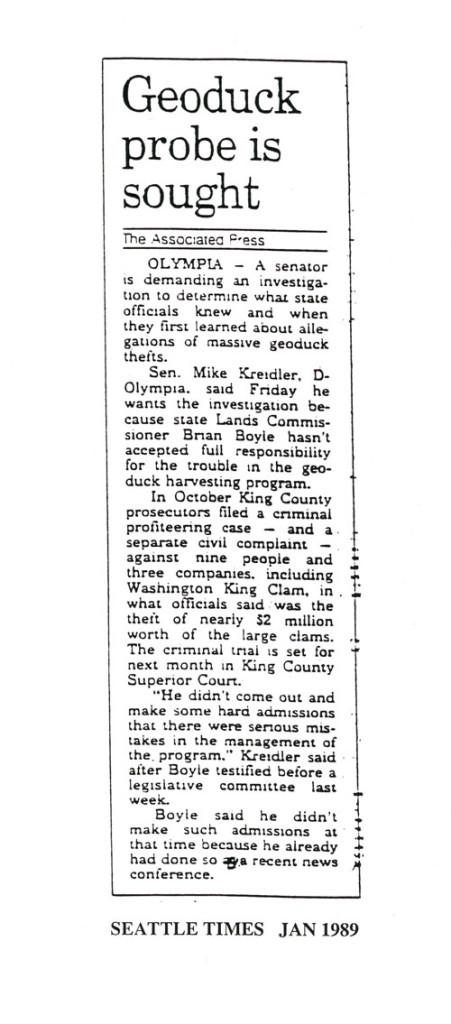 Geoduck probe is sought, Seattle Times, January 1989
