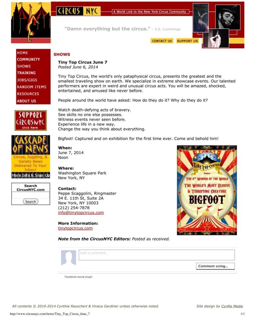 Tiny Top Circus June 7, CircusNYC, June 6, 2014