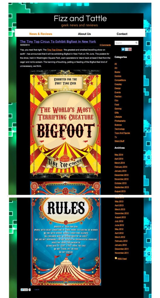 Tiny Top Circus to Display Bigfoot in New York, Fizz and Tattle, Geek News & Reviews, May 30, 2014