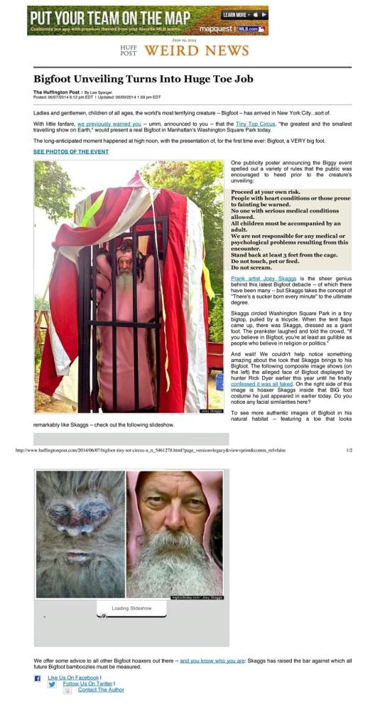 Bigfoot Unveiling Turns Into Huge Toe Job, Huffington Post, June 7, 2014