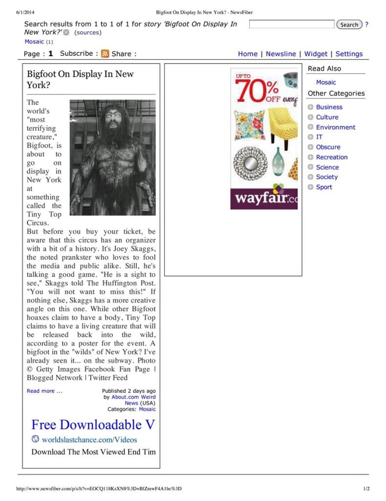 Bigfoot On Display In New York, NewsFiber, June 1, 2014