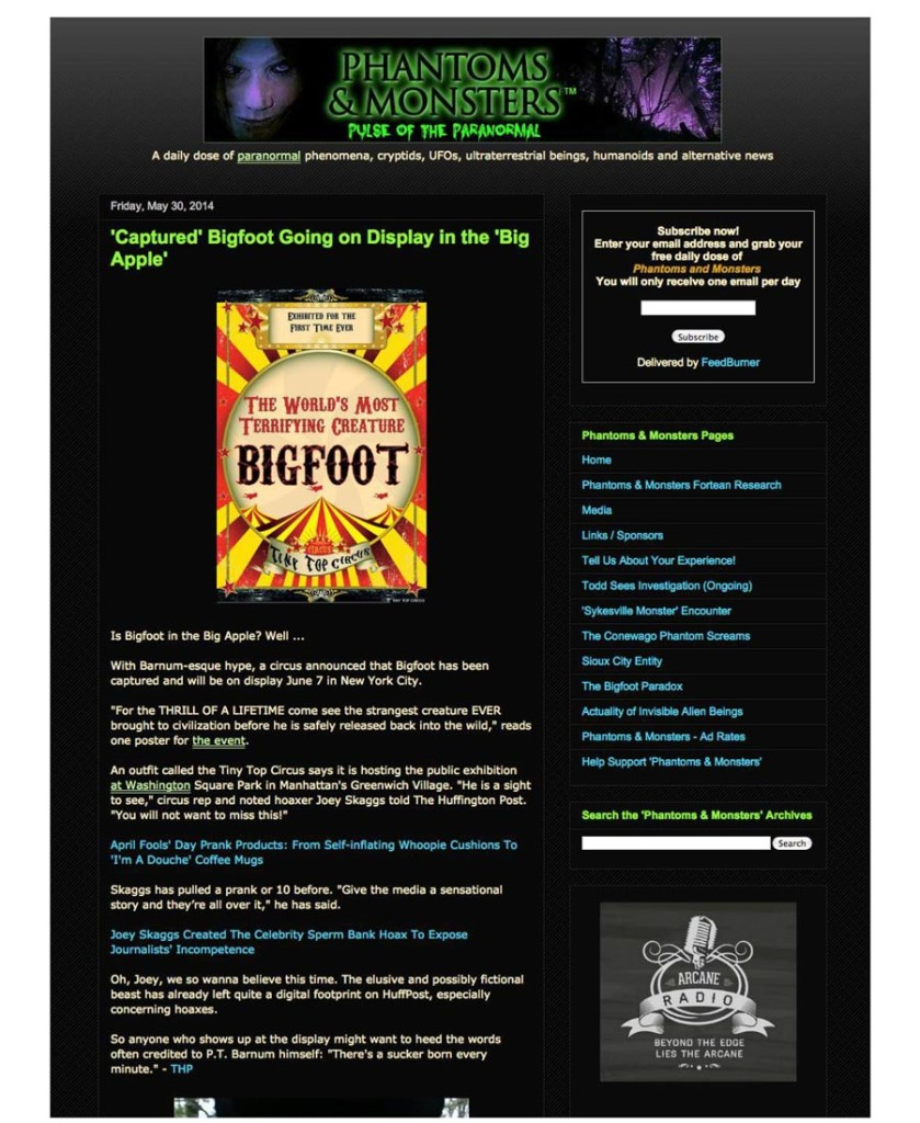 Captured Bigfoot Going on Display in The Big Apple, Phantoms and Monsters, Pulse of the Paranormal, May 30, 2014