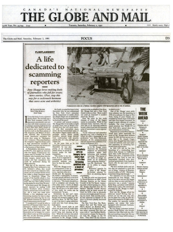 A life dedicated to scamming reporters, by Jacquie McNish, The Globe and Mail, February 2, 1991