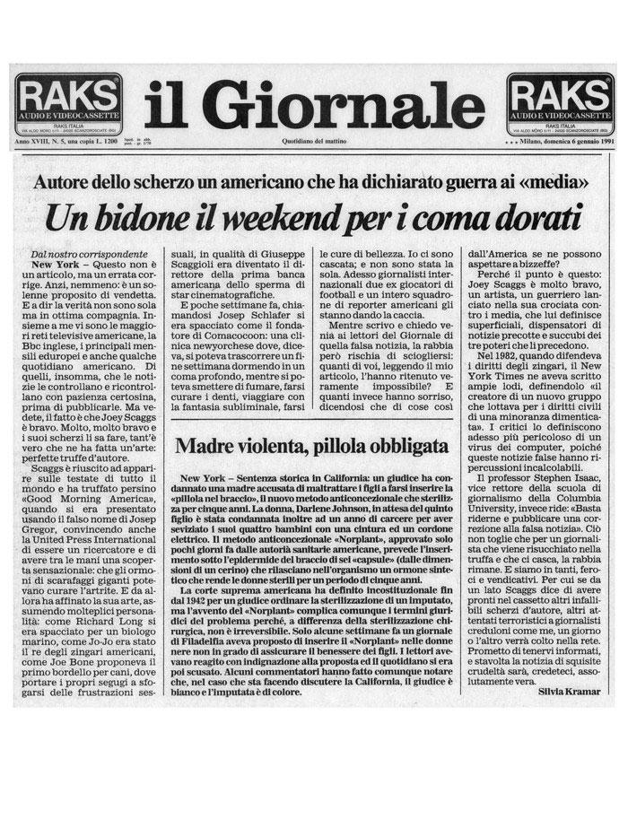 Un bidone il weekend per i coma dorati, by Silvia Kramer, il Giornale, January 6, 1991