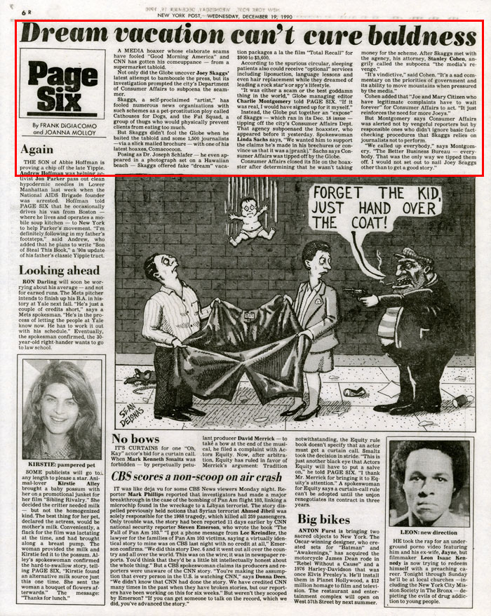 Dream vacation can't cure baldness, by Frank DiGiacomo and Joanna Molloy, December 19, 1990