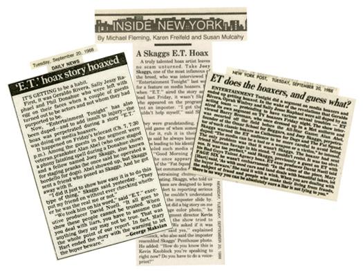 NY Post, NY Newsday & NY Daily News Report that Joey Skaggs hoaxed Entertainment Tonight's story about hoaxes