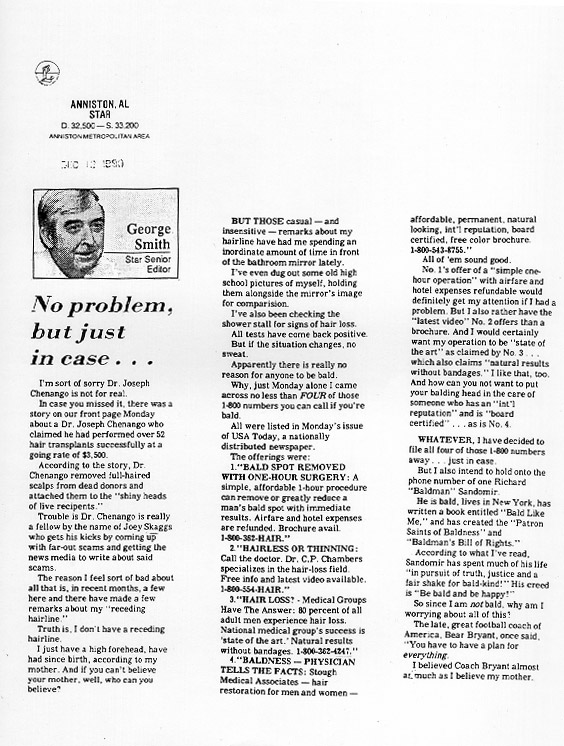 No Problem, but just in case..., Editorial by George Smith, Anniston Alabama Star, December 12, 1990