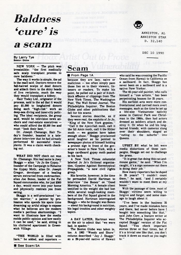 Baldness 'cure' is a scam, by Larry Tye (of the Boston Globe), Anniston Star, Alabama, December 10, 1990