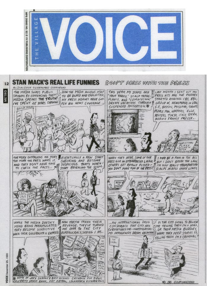 Don't Mess with the Press, Stan Mack's Real Life Funnies, by Stan Mack, The Village Voice, December 25, 1990