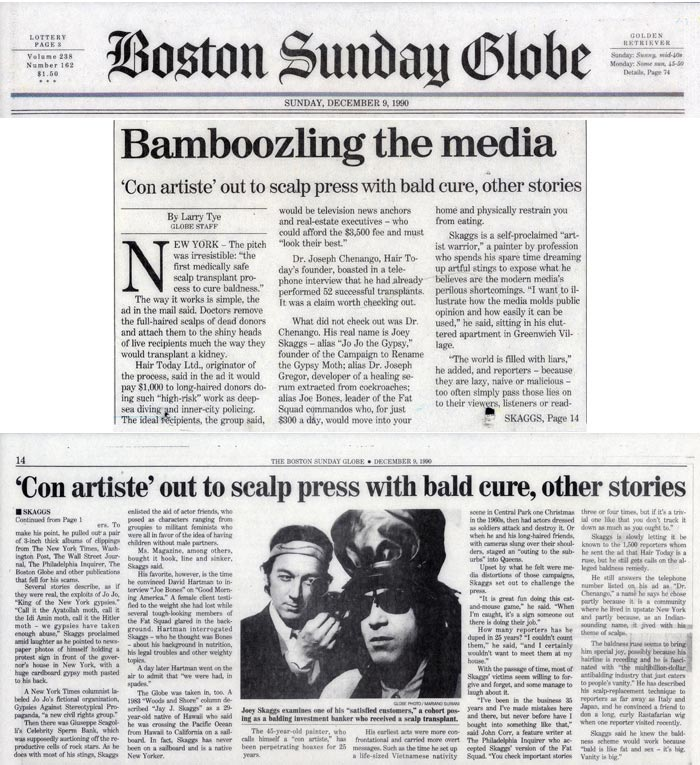 Bamboozling the media, by Larry Tye, Boston Sunday Globe, December 9, 1990