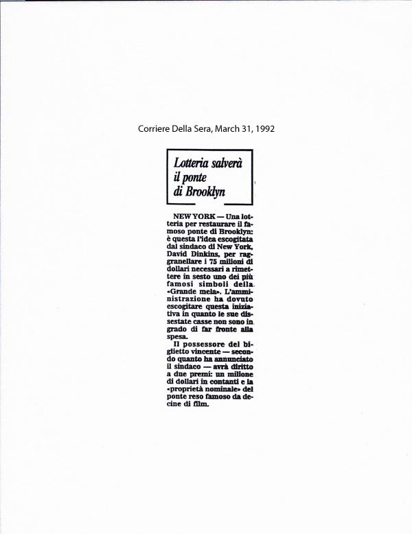 Lotteria salverà il ponte di Brooklyn, Corriere Della Sera, Match 31, 1992