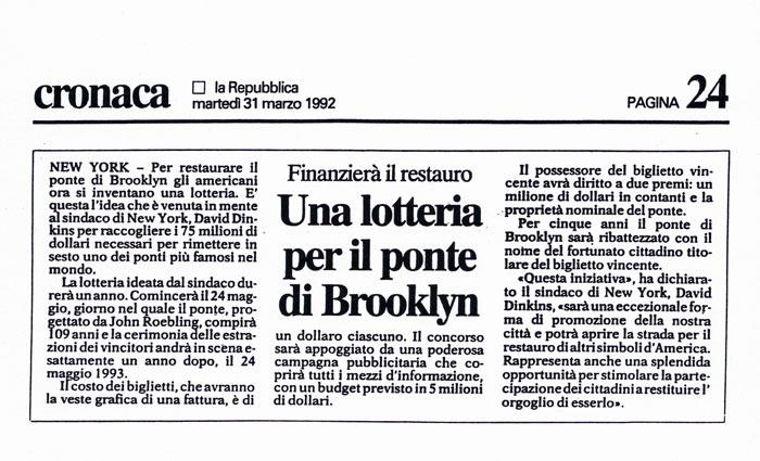Una lotteria per il ponte di Brooklyn, Cronaca, La Repubblica, March 31, 1992