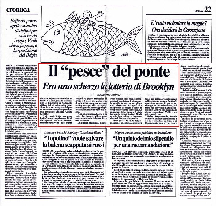 """Il """"pesce"""" del ponte, by Alessandra Longo, La Repubblica, April, 1992"""
