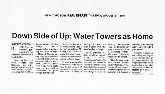 Downside of Up: Water Towers as Home, fake New York Post article, August 11, 1988