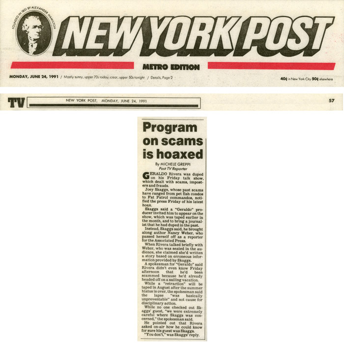 Program on scams is hoaxed, by Michele Greppi, New York Post, June 24, 1991
