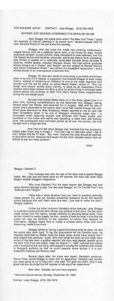 Skaggs Announces Geraldo Hoax to the Media, June 21 , 1991