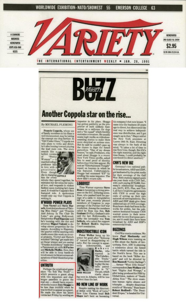Variety Buzz, by Michael Fleming, Variety, January 28, 1991