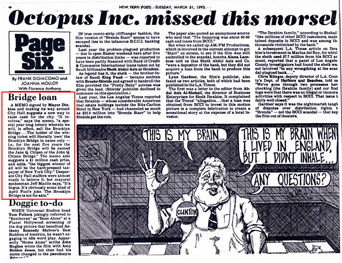 Bridge loan, by Frank DiGiacomo and Joanna Molloy with Florence Anthony, Page Six, New York Post, March 31, 1992