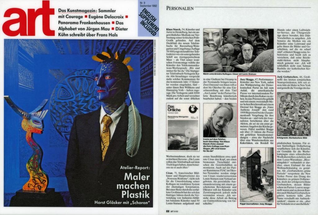 Personalien, Art, September, 1992