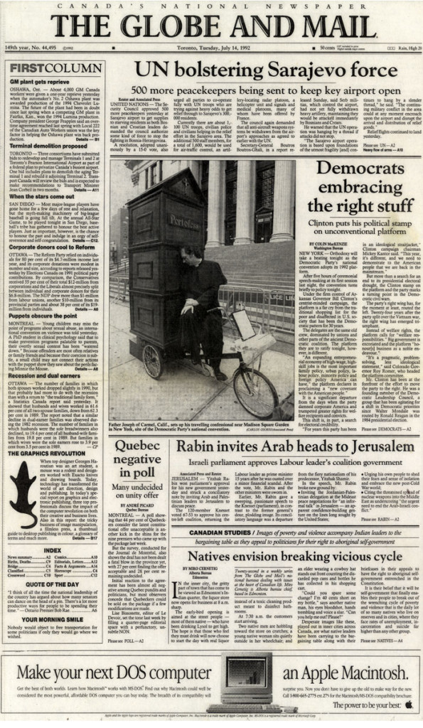 Democrats embracing the right stuff, The Globe and Mail, July 14, 1992