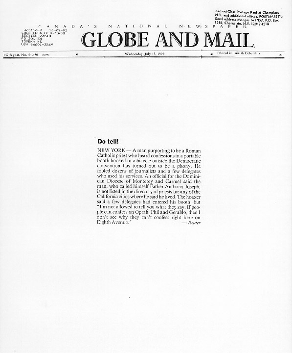 Do tell!, Globe and Mail, July 15, 1992