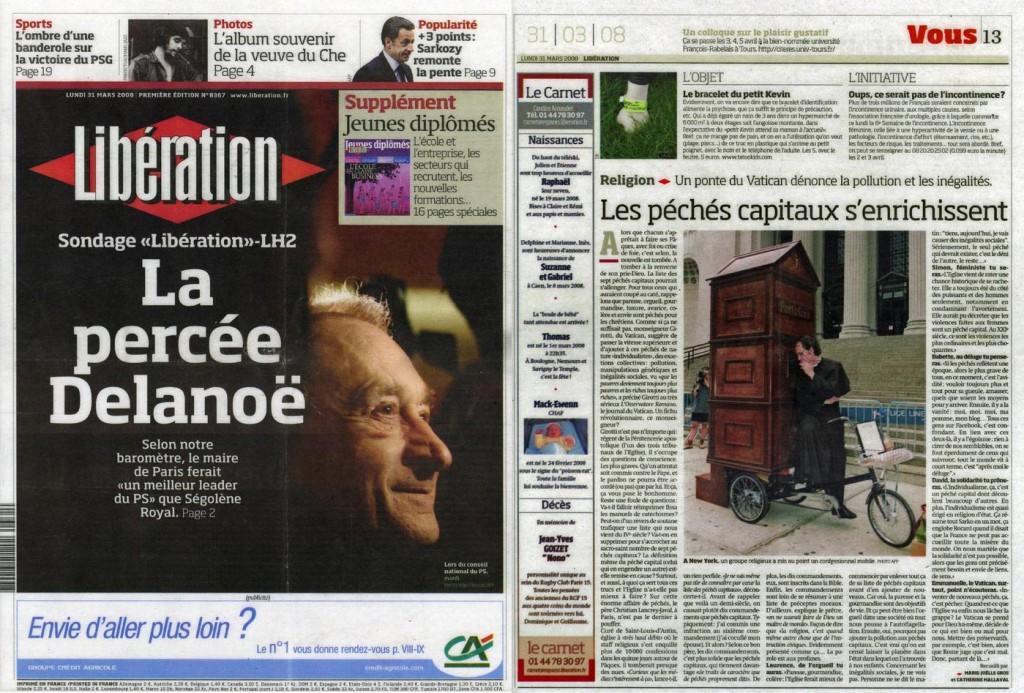 Les péchés capitaux s'enrichissent, Liberation, March 31, 2008